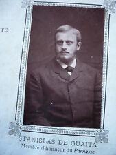 PHOTO ORIGINALE 1887  STANISLAS DE GUAITA ESOTERISME