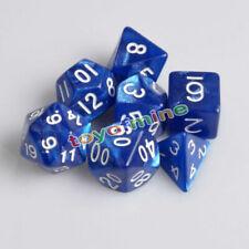Blue 7 Sided Dice D4 D6 D8 D10 D12 D20 Magic-the-Gathering MTG D&D RPG Poly Game