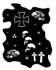 Airbrush Schablone - Stencil Skull, Sterne etc. Art.-Nr.11981 aus Mylar Folie