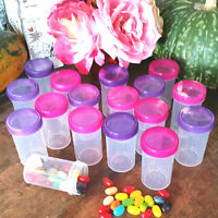 16 PARTY Pill Bottle Jars Pink Purple Lid Cap 2 oz Container #K4314 DecoJars USA