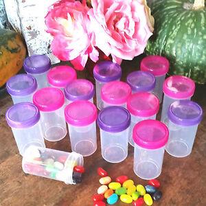 15 PARTY Pill Bottle Jars Pink Purple Lid Cap Doc McStuffins 4314 DecoJars USA