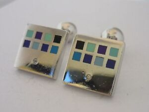 Stunning Heavyweight Genuine Diamond, Enamel & Sterling Silver Cufflinks