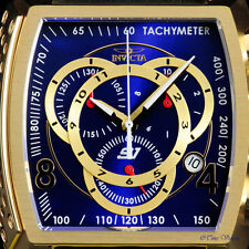 Invicta S1 Rally Blue Dial 18kt Gold Plated Swiss Chronograph Strap Watch 20243