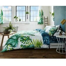 Tropical Leaf Luxury Reversible Duvet Quilt Cover Bedding Bed Linen Set - Green