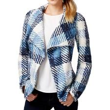 Two by Vince Camuto 7618 Womens Blue Faux Fur Plaid Open Front Jacket XL BHFO