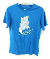 NIKE Boys T-Shirt Top 12-13 Years L Large Blue Cotton