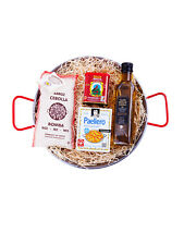 Paella Regalo-Set: 28cm paella pan, EVOO, bomba arroz, especias + Gratis Cuchara paella