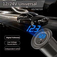 Blue LED Digital DC Voltmeter With Switch Motorcycle Car Universal 12V-24V