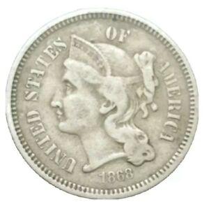 1868 US End of Civil War Era 3 cent Nickel Three Cent threecent Old Coin