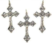 "Lot of 3 Silver Tone 1 1/2"" Jesus Christ INRI Cross Crucifix Pendant Charm"