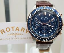 ROTARY Mens Watch Chronograph Tachymeter Blue dial , leather RRP £189 Boxed (660