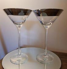 Pair of metallic rim handmade martini cocktail glasses