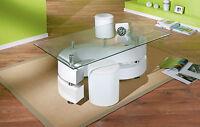 Table basse salon rectangulaire tabourets design moderne verre pied LAQUE BLANC