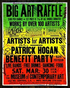 1985 Art Benefit Poster MOCA Signed Arnoldi, Shire, Gill, Woronov  + 27 Artists