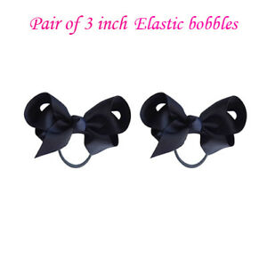 "3"" Bow Hair inch knot Clips Girls Baby Kids Elastic Bobbles School Quality Bows"