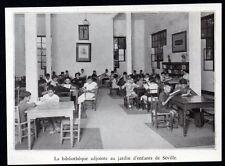 1938  --  ESPAGNE  BIBLIOTHEQUE ADJOINTE AU JARDN D ENFANTS A SEVILLE   3M435