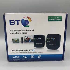 2 x BT Broadband Extender 500 Kit AV500 Powerline Adapters 2 x Ethernet Cables
