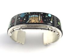 Native American Sterling Silver Handmade Multicolored Fan Design Cuff Bracelet