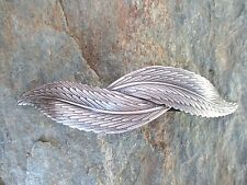 Feather /& Leaf Antiqued Silver Plated French Clip Hair Barrette 80MM CLIP 6029S