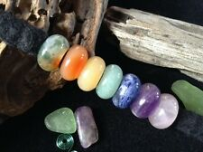 Gemstone Dreadlock Beads Set of 7 ~  5mm Hole Amethyst Agate Topaz Aventurine Uk