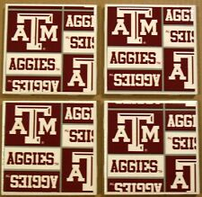 Coasters Set Texas A&M Cup Holders Bar Drink Sports Handmade Aggies Gifts Decor