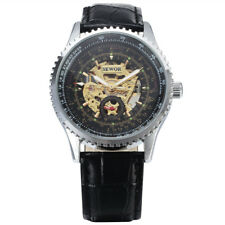 SEWOR Men Mechanical Automatic Watch Fashion Leather Skeleton Watches  Men Gift