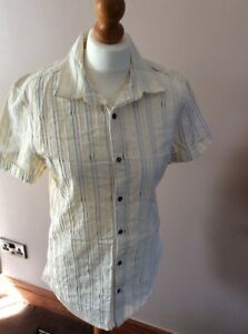 River Island Yellow Striped Short sleeves Shirt Size M cotton holiday summer