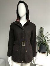 Barbour BOWER Belted Waxed Wax Jacket Coat Brown Ladies Size UK 8 US 4 EU 34