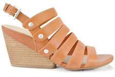 NAYA Lassie Women's Strappy Platform Wedge Leather Sandal,Orange,New,8M, 0229
