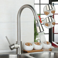 Deck Mounted Kitchen Pull Out Faucet Brushed Nickel Swivel Spout  Sink Mixer Tap