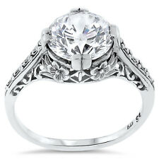 WEDDING ENGAGEMENT .925 STERLING SILVER ANTIQUE STYLE CZ RING SIZE 5.75,    #123
