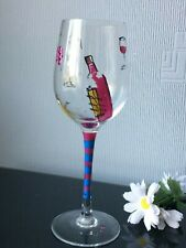Hand Painted Pink Blue Design Large Single Wine Glass Goblet 300ml Drink Cup