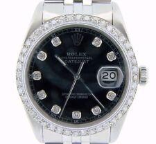 Rolex Datejust Masculino Relógio de aço inoxidável Quickset Black Diamond Dial 1ct Moldura