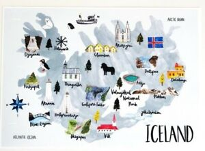 New Iceland Map Watercolour Travel Gift Collectable A4 Print