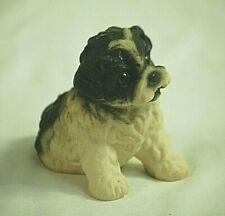 Mixed Breed Black & White Puppy Dog Resin Figurine Shadow Box Shelf Decor
