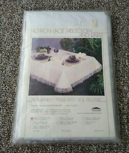 """Unused No-Iron Dacron Poly White Lace Tablecloth & Liner 52x70"""" Oblong"""