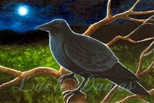 ACEO art print Bird 61 crow raven from original painting by L.Dumas