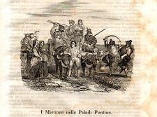 Stampa antica MIETITORI nella campagna di Roma Paludi Pontine 1840 Old print