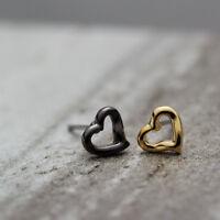 New 18K Gold GP 7mm 2 Colours Cute Love Heart Stud Earrings Girls Women Gift