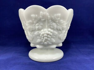 """Westmoreland Marked Footed Small Straight Jardiniere Paneled Grape Milk Glass 4"""""""
