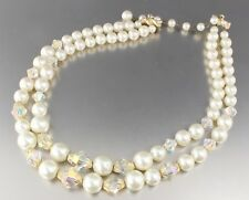 VINTAGE 50'S MULTI 2 STRAND WHITE FAUX PEARL & CRYSTAL GLASS BEAD NECKLACE JAPAN