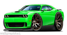 2015 Dodge Challenger HELLCAT SRT Cartoon Car Wall Stickers Graphic Poster Cling