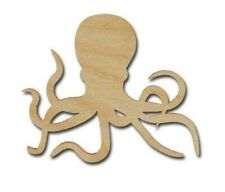 Octopus Shape Unfinished Wood Cutout Sea Life DIY Crafts Variety of Sizes