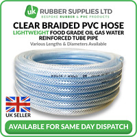 "Inner 12mm High Pressure Water Line Tubing Clear Hose Braid Reinforced I//D 1//2/"""