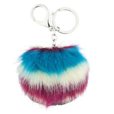 Faux Fur Pom Pom Keychain Bag Charm Lux Accessories Red White and Blue Tie Dye