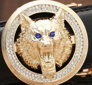 MENS DIAMONDS BELTS LUXURY DESIGNER WOLF HEAD AUTOMATIC LEATHER BELT FOR MEN M L