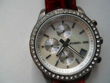 Fossil women's Red leather band.quartz,battery,dress & analog used watch.ES-1649