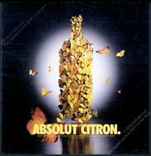 2000 Absolut Citron butterfly as vodka bottle photo vintage print ad