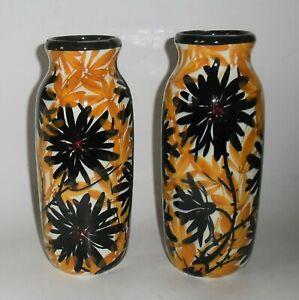 2x Jugendstil Vase Vasenpaar Elmshorn Carstens Keramik handgemalt floral