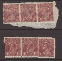 Tasmania EAGLEHAWK NECK R1 postmarks on 2 x KGV strips x 3